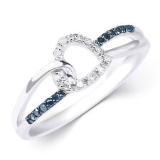 Womens 0.10 CT Blue DIAMOND Heart Infinity BAND RING 10k White Gold Size 5-11