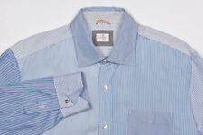 HARTFORD Shirt XL in Sky Blue Patchwork Striped Unfinished Casual Cotton
