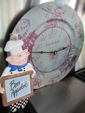 """GRAPE  TIN   WALL CLOCK"""" LE PETITE BISTRO WITH PIG  CHEF SPOON REST"""