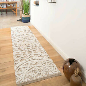Beige Mandala Runner Sustainable Eco Friendly 3D Cotton Indoor Long Hallway Rug