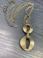 "Women's Ladies Necklace Signed Coldwater creek brass Modern  Pendant 30""Signed"