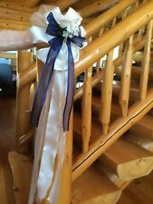 Wedding Pew Bows  Blue Roses Ivory Flower Church Chair Decoration