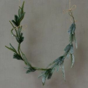 Faux Frosted Fir Pine Rustic Xmas Garland, Artificial Realistic Lifelike 120cm