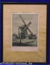 """Paul Geissler: Radierung/Aquatinta """"Windmühle in Schlutup bei Lübeck"""".10/100"""