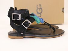 NIB UGG Size 7 Women's Black 100% Leather Suede LECIA TASSEL Ankle Strap Sandal