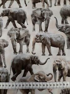 Sewing Timless Tresures 19 11/16x43 5/16in Wild-C 6584 Beige Braun Elephants