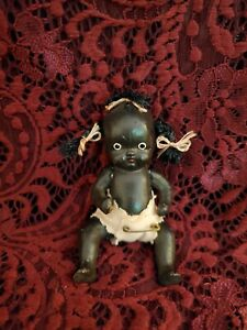 """Antique Japanese Miniature All Bisque Dark Skinned Jointed Baby Doll 4"""" Cute"""
