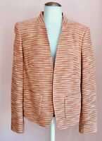 ESCADA 40 10 Pretty Pink Orange Woven Tweed Designer Womens Blazer Jacket