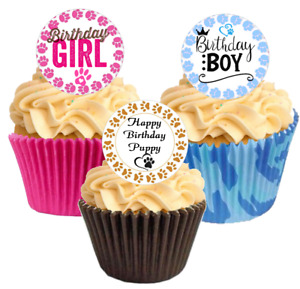 Cute Pre Cut Puppy Happy Birthday Cupcake Decorations Toppers Pink blue brown