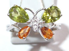 Citrine and Peridot Butterfly ring, in platinum overlay Sterling Silver, Size L.