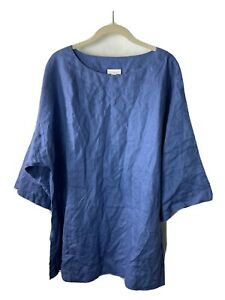 Pure J Jill Tunic Linen Large Blue 3/4 Sleeve Oversized Loose Fit Pullover Top