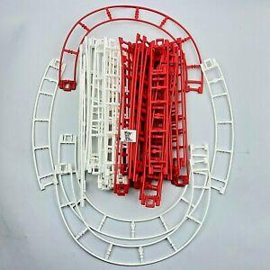 44 Micro Knex Roller Coaster Track Lot - K'nex Bright Red & White Parts