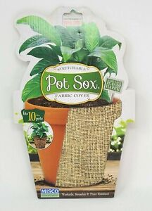 """Pot Sox Flowerpot Cover Fits 10"""" pots Stretchable Fabric 4 Assorted Styles Misco"""