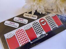 Nail Art Self Adhesive Full Nail Polish Wrap Sticker Red Love Hearts Check Decal