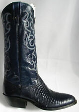 New NOCONA 6 D Navy Blue LIZARD Made In USA Cowboy Boot OLD STOCK Navy Leather