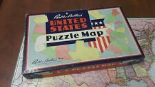 VINTAGE United States Puzzle Map Parker Brothers Wood Pieces Complete