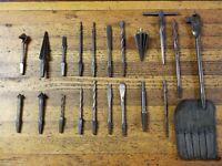 ANTIQUE Tools Woodworking Brace Bit Hand Drill Auger Reamer Bits Vintage Lot ☆US