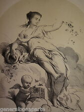 Charles CHAPLIN (1825-1891) LITHO ORIGINALE ALLEGORIE PRINTEMPS FEMME ANGES 1850