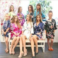 New Silk Short/long Wedding Bride Bridesmaid Robe Women Floral Bathrobe Kimono
