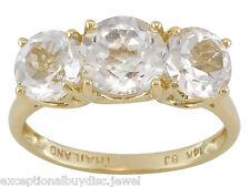 14K 3.50ct DIAMOND TOPAZ 3 STONE PAST PRESENT FUTURE ANNIVERSARY RING SZ 7 SZ 9