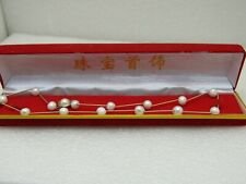"""18"""" Faux Baroque Pearl Necklace, Bar Link, Chinese Themed in Red Box"""