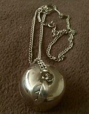 Vintage Revlon Charlie Solid Perfume Silver Coloured Apple pendant necklace