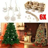 6X Wood Christmas Snowflakes Tree Decorations Craft Hanging Bauble Blank Shapes