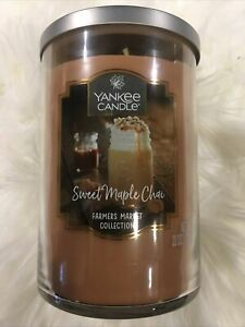 YANKEE CANDLE SWEET MAPLE CHAI RARE 2 WICK FARMERS MARKET COLLECTION NEW!