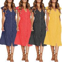 UK Womens Summer Sleeveless V-neck Polka Dot Midi Dress Ladies Holiday Sundress