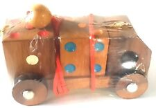 """TEAK WOOD TOY MODEL TOW TRUCK HANDMADE CAR HAVE 2 DICE 2.5 x 4.5 """" TOWING TOYS"""