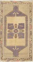 Geometric VINTAGE Purple Oushak Turkish Oriental Area Rug Distressed WOOL 2'x3'