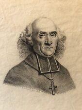 Portrait d'ecclésiastique fusain signé A. Marquis vers 1820 dessin original