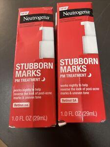 2 Neutrogena Stubborn Acne A.M. & Stubborn Marks P.M. Treatment Bundle New