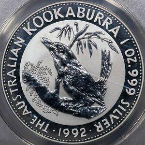 1992 AUSTRALIA KOOKABURRA S$1 ANACS MS70 DCAM ANACS CERTIFIED 1OZ SILVER NICE
