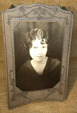 "Antique Paper Framed Beautiful Young Lady 1940's Slate Gray w/ Black Accents 6""H"