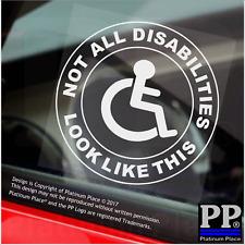 1x non tutti gli handicap apparire come questa-Round-Finestra Adesivo-segno, auto, disattivato