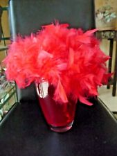 New listing Vintage Hat Red Natural Feathers Top Style Hat