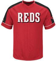 Cincinnati Reds Mens Majestic Lead Hitter 2 Synthetic V Neck Baseball Jersey