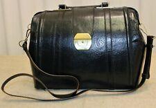 Sac bandoulière mallette valise docteur neuf cuir noir vintage 70/80 deadstock