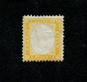 ITALY. 1862. VICTOR EMMANUEL II 80c YELLOW GIBBONS no 4. M.H. cat £80+