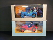 VERY RARE SET OF 2 LARGE TINTIN VINTAGE HAPAX JEEPS  RED & BLUE  HERGÉ 1994