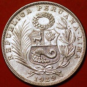 1/2 Sol 1929 silver Lima Peru KM#216 F334TO