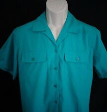 NWT Cabin Creek Teal blue short sleeve shirt women's S