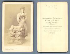 Egypte, Délié au Caire, vendeur de cruche CDV, Vintage albumen  Carte de Visite,