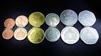 GAMBIA SET OF 6 COINS, 1 5 10 20 50 BUTUTS 1 DALASI, 1998 - 2014, UNC