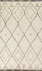 Geometric Ivory Moroccan Oriental Area Rug Hand-knotted Plush Wool Carpet 6'x10'