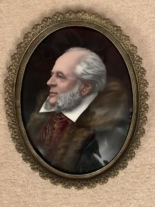 Antique French Enamel Plaque Of A Gentleman