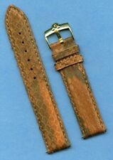 Omega Gold Buckle & 19mm Brown Genuine Snake Skin MB Strap Band Leather Lined