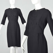 XS 1950s Classic Little Black Dress VTG Rounded Neckline Back Zip Knee Length