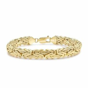 9ct Yellow Gold 7.5 Inch 8mm Domed Byzantine Bracelet
